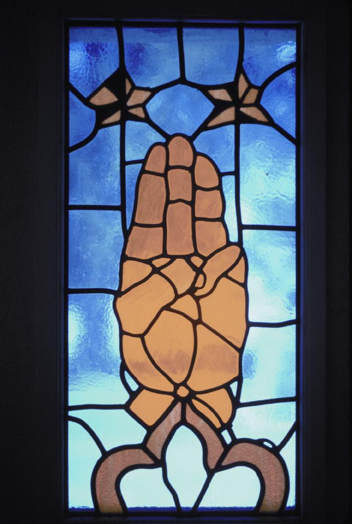 Scout sign stained glass window